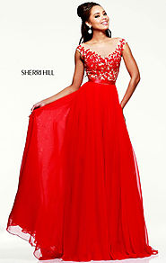 Cheap Sherri Hill 11151 Sweetheart-Neck Beaded Red/Nude Chiffon Long Lace Prom Dresses [Sherri Hill 11151 Red/Nude] -...