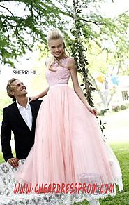 Sherri Hill 21265 Discount Blush Open-Back Bodice Long Pleated Prom Dresses