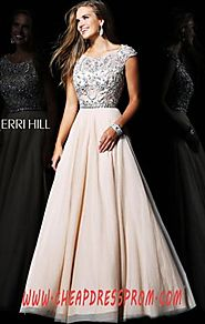 Affordable Beads Cap-Sleeves Nude/Silver Sherri Hill 21053 Long A-Line Prom Dresses