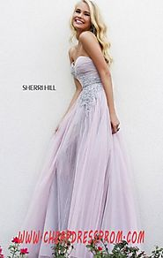 Sherri Hill 11114 Beads Pink/Peach Floral Tulle Long A-Line Prom Dresses Cheap Sale