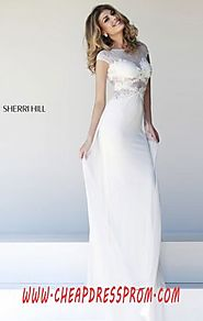 Discount Ivory Bateau-Neck Beading Sherri Hill 21365 V-Back Long Sheer Evening Gown