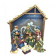 "Miracle in Manger - 5"" Nativity 8 Piece Plus Creche"