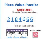 FunBrain - Place Value Puzzler