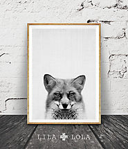 Fox Print, Woodlands Decor, Wilderness Fox Wall Art, Black and White Animal Print, Printable Art, Black and White Woo...