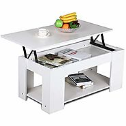 Yaheetech Grade E1 MDF & Iron Lift-up Top Coffee Table w/Hidden Storage Compartment & Shelf White