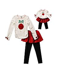 Holiday Ornament Skirted Legging Set with Matching Outfit