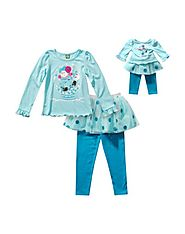 """Snowman Skirted"" Legging Set with Matching Outfit for 18 inch Play Doll"