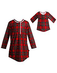 """Holiday Plaid"" Nightgown with Matching Outfit for 18 inch Play Doll"