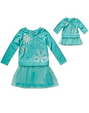"""Snow Flurries"" Drop Waist Fashion Dress With Matching Outfit For 18 Inch Play Doll"