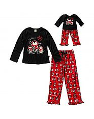 """Holiday Penguins"" Two Piece Sleepwear Set with Matching Outfit for 18 inch Play Doll"