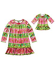 """Holiday Gingerbread Man"" Nightgown with Matching Outfit for 18 inch Play Doll"