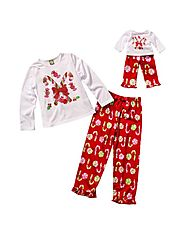 """Holiday Candy Cane and Friends"" Two Piece Sleepwear Set with Matching Outfit for 18 inch Play Doll"