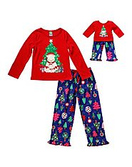 """Bear-y Christmas"" Two-Piece Pajama Sleepwear Set with Matching Outfit for 18 inch Play Doll"