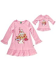 """Gingerbread House"" Nightgown Sleepwearwith Matching Outfit for 18 inch Play Doll"