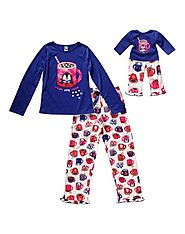 """Cozy Cup of ""Cocoa"" Two-Piece Pajama Sleepwear Set with Matching Outfit for 18 inch Play Doll"