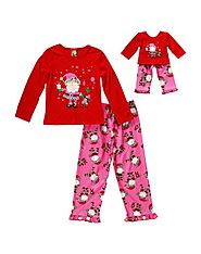 """In-the-Pink Santa!"" Two-Piece Pajama Set with Matching Outfit for 18 inch Play Doll"