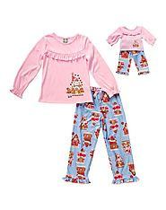 """Festive Gingerbread"" Two-Piece Pajama Set with Matching Outfit for 18 inch Play Doll"