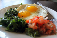 Recipe: Garlicky Kale with Fried Eggs and Salsa