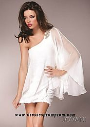 Chiffon White One Shoulder Long Sleeves Cocktail Dress