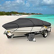 GRAY HEAVY DUTY WATERPROOF MOORING BOAT COVER FITS LENGTH 12' 13' 14' SUPERIOR TRAILERABLE BOAT COVERS 600 DENIER V-H...