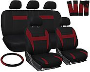 OxGord 17pc Set Flat Cloth Mesh / Red & Black Auto Seat Covers Set - Airbag Compatible - Front Low Back Buckets - 50/...
