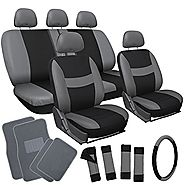 OxGord 21pc Black & Gray Flat Cloth Seat Cover and Carpet Floor Mat Set for the Toyota Camry Coupe, Airbag Compatible...