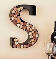 Monogram Letter S Wall Wine Cork Holder in Black Metal by GetSet2Save