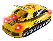 WolVol Electric Transformers Car / Shooting Tank Toy, Lights and Sound, Bump and Go action, Goes around and changes d...