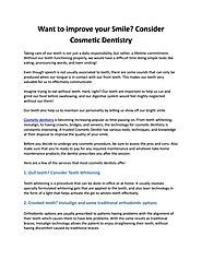 Want to improve your Smile? Consider Cosmetic Dentistry
