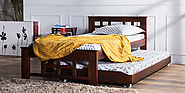 Buy Santa Cruz Extendable Solid Wood Single Bed in Honey Oak Finish by Woodsworth Online - Single Beds - Beds - Peppe...
