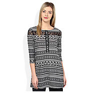 Buy Fusion Beats Black Boat Neck Tunic @ Price Rs.520
