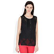 Buy Madame Black Solids Round Neck Top @ Rs.678 Online