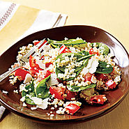 Quinoa with Roasted Garlic, Tomatoes, and Spinach Recipe