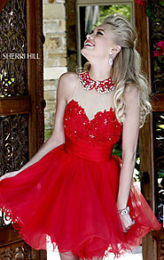 Sweetheart-Neck Red Beaded Cheap Sherri Hill 21227 Short Lace Prom Dresses [Sherri Hill 21227 Red] - $172.00 : 2016 c...