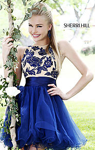 Cheap Navy/Nude High-Neck Sherri Hill 21219 Floral Lace Short Prom Dresses