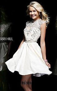 Cheap Ivory Beaded High-Neck Cap-Sleeves Sherri Hill 4300 Short Lace Cocktail Dresses [Sherri Hill 4300 Ivory] - $175...