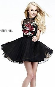 High-Neck Black Beads Discount Sherri Hill 21198 A-Line Short Lace Prom Dress