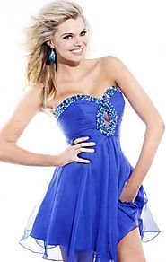 Keyhole Sherri Hill 2944 Beads Royal Chiffon Cheap Short A-Line Prom Dress