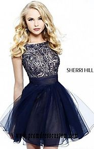 Sherri Hill 11032 Open-Back Beaded Navy Cheap A-Line Short Bodice Prom Dresses