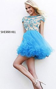 Sherri Hill 21304 High-Neck Beads Nude/Aqua A-Line Short Prom Dress Cheap Sale