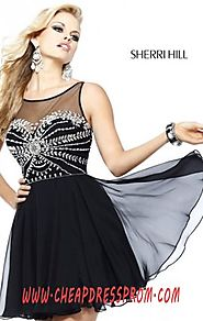 Affordable Sherri Hill 11034 Beads Black/Silver Bodice Short Layered Prom Dresses