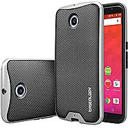 Caseology® [Envoy Series] Premium Leather Bumper Case [Leather Textured] for Nexus 6 - Metallic Mesh Silver
