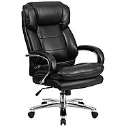 HERCULES Series 24/7 Intensive Use, Multi-Shift, Big & Tall 500 lb. Capacity Black Leather Executive Swivel Chair wit...