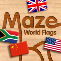 Wood Puzzle Maze World Flags