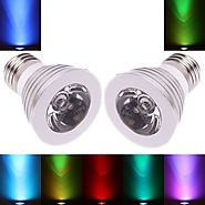 2Pcs E27 3W 16 Color Changing Dimmable LED Bulb with Remote Control(85-240V)
