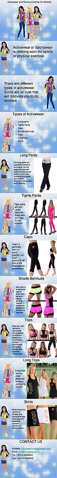 Types of Activewear and workout clothes for women
