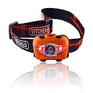 Vitchelo V800 CREE LED Headlamp with Red LED Light, Orange