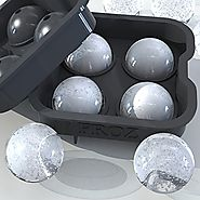 Froz Ice Ball Maker - Novelty Food-Grade Silicone Ice Mold Tray With 4 X 4.5cm Ball Capacity