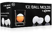 Cuzzina Ice Ball Maker Mold - Sphere Ice Mold Creates Large 2.5 Inch Ice Balls for Whiskey or Cocktails - Set of 2 Si...