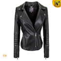 Leather Black Cropped Motorcycle Jacket CW608036 - cwmalls.com